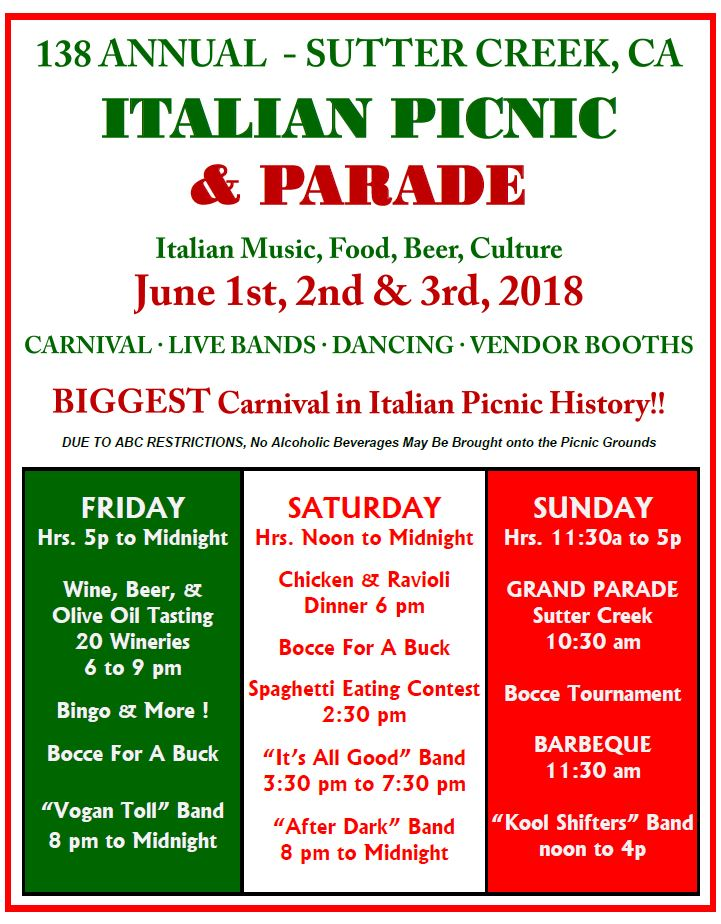 sutter creek italian picnic and parade 2018